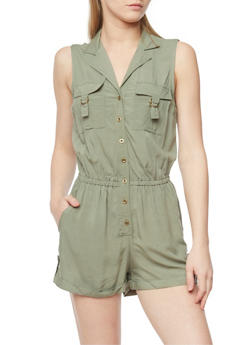 Sleeveless Button Front Romper with Cuffed Shorts - OLIVE - 0045051060999