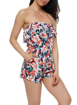 Strapless Floral Romper with Ruffle Overlay - BLUE - 0045051061015