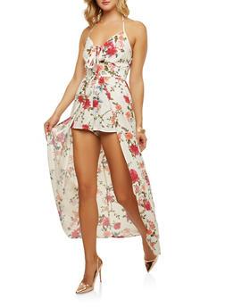 Tie Front Floral Maxi Romper - 0045051061077