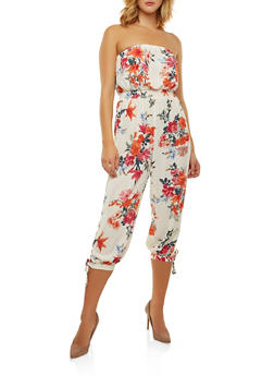 Strapless Floral Jumpsuit - 0045051061125