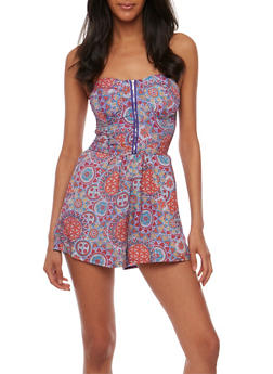 Printed Strapless Zip Front Romper - PURPLE - 0045051061944