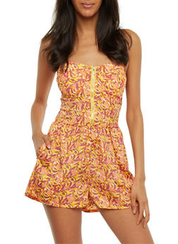 Printed Strapless Zip Front Romper - GOLD-CORAL - 0045051061944