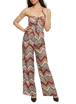 Strapless Printed Zip Front Jumpsuit - RUST - 0045051061945