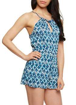 Printed  Multicolor Halter Neck Romper with Keyhole - BLUE - 0045051061946