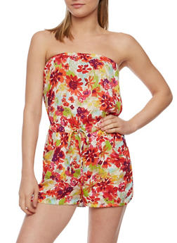 Strapless Floral Print Romper - PINK - 0045051061968