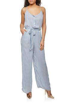 Gauze Knit  Printed Jumpsuit - 0045051062082