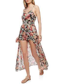 Caged Neck Floral Maxi Romper - 0045051062092