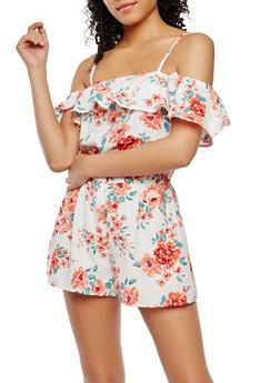 Floral Off the Shoulder Romper - 0045051062122