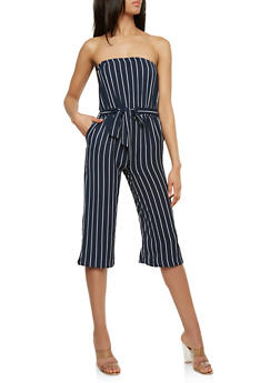 Striped Strapless Cropped Jumpsuit - 0045051062128