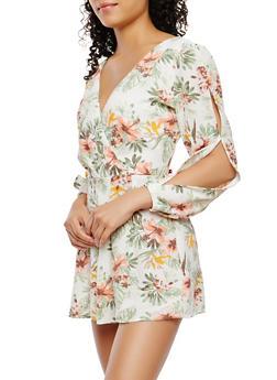 Floral Slit Sleeve Romper - 0045051062224