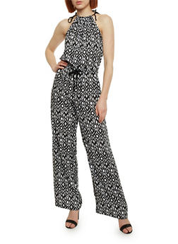 Sleeveless Printed Halter Neck Jumpsuit with Tie Straps - MULTI COLOR - 0045051062943
