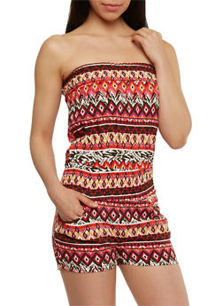 Strapless Printed Smocked Waist Romper - MULTI COLOR - 0045051062948