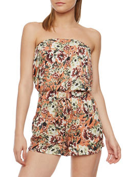 Strapless Printed Romper - RUST - 0045051062968
