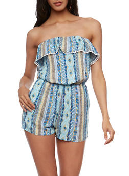 Printed Strapless Romper with Flounce Overlay - AQUA - 0045051063015