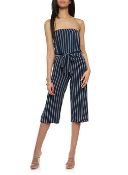 Striped Off the Shoulder Wide Leg Jumpsuit - 0045051063128