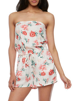 Off the Shoulder Floral Print Romper - 0045051063968