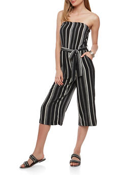 Striped Strapless Jumpsuit - 0045051064128