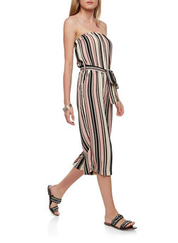 Striped Strapless Jumpsuit - 0045051064128