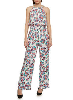 Floral Halter Neck Jumpsuit with Drawstring Waist - 0045051064943