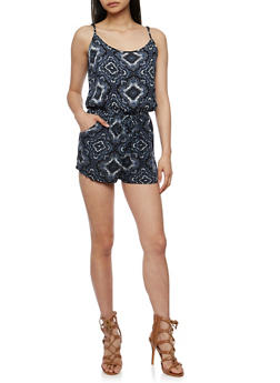 Sleeveless Printed Romper - BLACK - 0045054260742