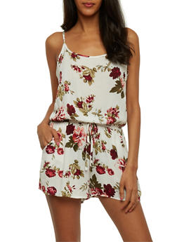 Sleeveless Floral Romper - 0045054261742