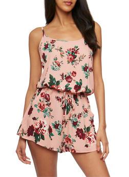 Sleeveless Floral Romper - 0045054261742
