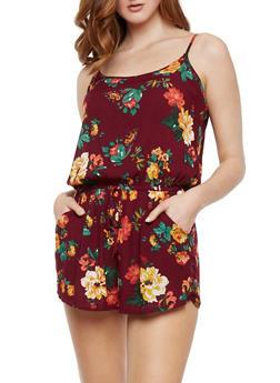 Sleeveless Floral Romper - BURGUNDY - 0045054261742