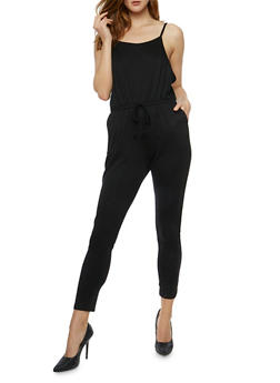 Solid Sleeveless Jumpsuit - BLACK - 0045054267787
