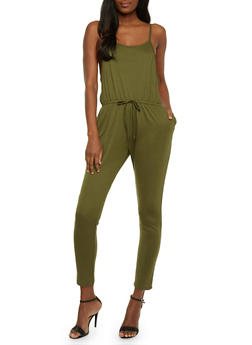 Solid Sleeveless Jumpsuit - OLIVE - 0045054267787