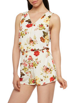 Sleeveless Floral Zip Front Romper - IVORY - 0045054268553