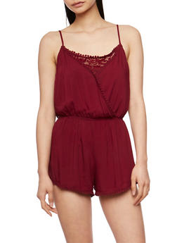 Sleeveless Lace and Crochet Detail Romper - BURGUNDY - 0045054269022