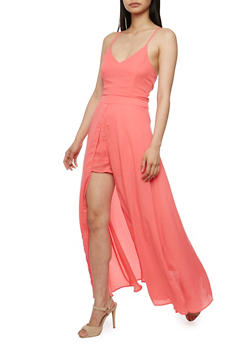 Sleeveless Knit Romper with Chiffon Maxi Overlay - 0045058752504