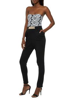 Strapless Jumpsuit with Metallic Bar Belt Accent - 0045058752512