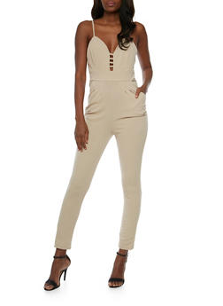 Solid Spaghetti Strap Caged Neck Jumpsuit - KHAKI - 0045058752800