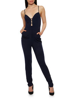 Solid Spaghetti Strap Caged Neck Jumpsuit - NAVY - 0045058752800