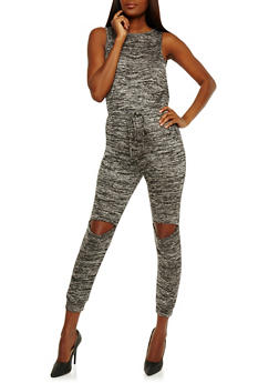 Soft Knit Jumpsuit with Slit Knees - 0045058752832