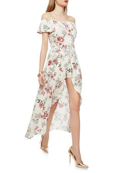 Floral Romper with Maxi Overlay - 0045058753484