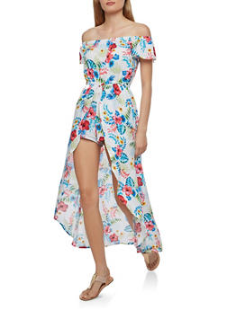 Floral Off the Shoulder Romper with Maxi Skirt Overlay - 0045058753486