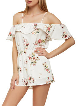Floral Off the Shoulder Romper - 0045058753492
