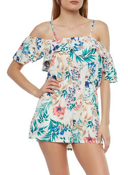 Ruffled Floral Off the Shoulder Romper - 0045058753495
