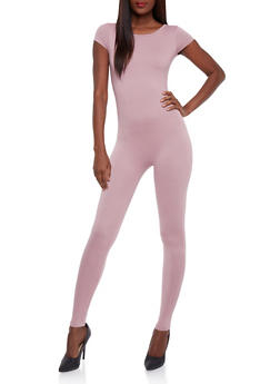 Solid Short Sleeve Catsuit - MAUVE - 0045058930220