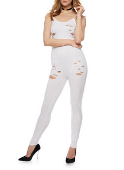 Sleeveless Lasercut Catsuit - WHITE - 0045058930958