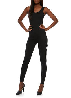 Sleeveless Varsity Stripe Catsuit - BLACK - 0045058937224