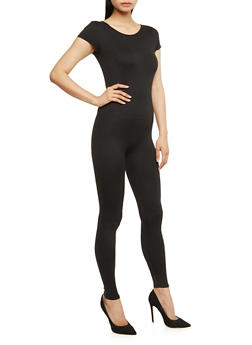 Short Sleeve Catsuit - BLACK - 0045058937322