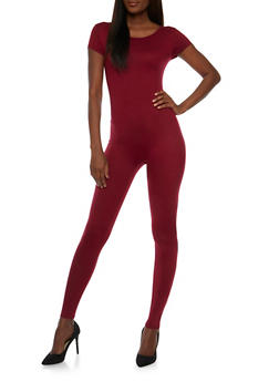 Short Sleeve Catsuit - BURGUNDY - 0045058937322