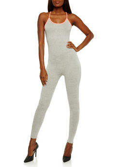 Contrast Trim Catsuit with Keyhole Detail - 0045058937619