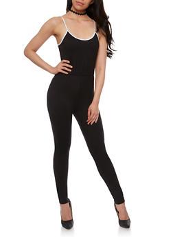 Spaghetti Strap Contrast Trim Jumpsuit - BLACK/WHITE - 0045058937719