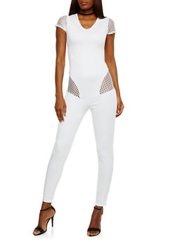 V Neck Catsuit with Mesh Details - WHITE - 0045058938119