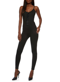 Sleeveless Lace Up Catsuit - BLACK - 0045058938319