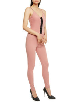 Sleeveless Lace Up Catsuit - BLUSH - 0045058938319